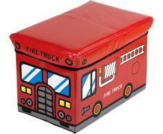Bieco Aufbewahrungsbox mit Deckel Kinder Feuerwehr, faltbar, Sitzhocker mit Sitzgelegenheit, und Polsterung, Spielzeugkiste mit Stauraum, Sitztruhe, Jungen & Mädchen, 46 L, Belastbar bis 80 Kg, rot