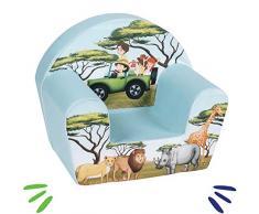 DELSIT Kindersessel Babysessel Kinder Sessel Baby Sitz Kindermöbel für Jungen und Mädchen SAFARI Blau