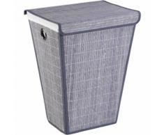 WENKO Wäschetruhe Bamboo Grau, konisch Wäschekorb Wäschetruhe Wäschesack Wäsche