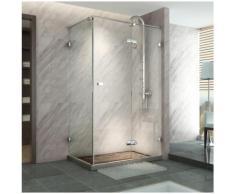 Duschwand mit Schiebetür, rechteckig, gehärtetes Glass, transparent, Profilen auf 10 mm