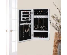 Songmics Schmuckschrank Wandspiegel zum Hängen mit Tür und Magnetverschluss weiß JBC51W