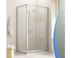 Cristal Duo 2 Türen Duschkabine 90x70 OF. 90 CM H198 ESG-Strukturglas C - IDRALITE