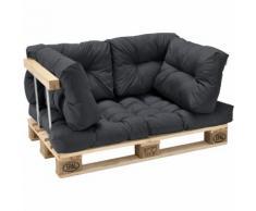 Palettenkissen - 5er Set - Sitzpolster + Rückenkissen [dunkelgrau] Paletten-Sofa In/Outdoor