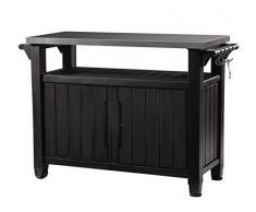 Keter Auflagenbox Beistelltisch Tisch für Grill, 298 L
