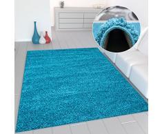 Prime Shaggy Teppich Farbe Türkis Hochflor Langflor Teppiche Modern für Wohnzimmer Schlafzimmer - VIMODA, Maße:200x280 cm