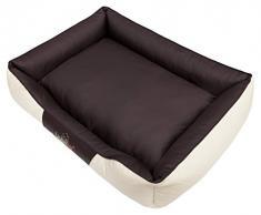 HobbyDog R5CEPBEB7 Hundebett/Sofa / Korb Cesar Perfect Kunstleder, Kodura, beige/braun, Größe R5, 125 x 98 x 25 cm