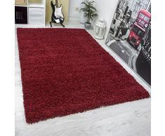 VIMODA Hochflor Shaggy Teppich Modern, Hoher Flor, Uni Farbe in ROT, Strapazierfähig - Ökotex Zertifiziert, Maße: 80x150 cm