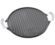 Outdoorchef Gusseisen Grillplatte 420 – Grill-Wende-Platte – Gasgrill Zubehör für Kugelgrill – Grillpfanne doppelseitig verwendbar – Ø 33 cm
