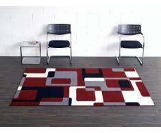 Hanse Home 102014_80x150 Teppich Läufer Bettumrandung Brücke, Polypropylen, rot grau schwarz creme, 80 x 150 x 0.9 cm