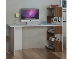 DELUXE Schreibtisch - Weiß / Nussbaum - Computertisch - Workstation für Home Office in modernem Design