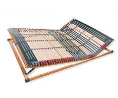 FMP Matratzenmanufaktur 22-0004 7 Zonen Lattenrost Rhodos KF, Kopf- und Fußteil verstellbar 44 Leisten Lattenroste Mittelgurt, 140 x 200 cm