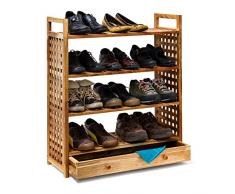 Relaxdays Schuhregal Walnuss H x B x T: 81 x 70 x 27 cm Schuhablage mit Schublade 4 Böden für je 3 Paar Schuhe Holz Schuhschrank mit Griffen zum Tragen und Schubfach zum Ausziehen, geölt, natur