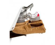 j-me JM2004120WHI Schuhregal für 7 Paar Schuhe, wandbefestigt, waagerecht, 120 cm lang, Edelstahl, weiß