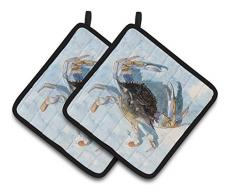 Carolines Treasures Blauer Krabben-Paar Topflappen 8011PTHD, 7,5 x 7,5 W, mehrfarbig