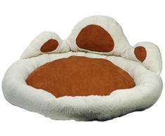 dobar 60409 Hundebett, Hundesofa oder Katzenbett aus sehr weichem Stoff Plus Plüschumrandung zum Einkuscheln, Gröe L, 80 x 80 x 33 cm