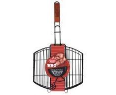 TableCraft BBQ Grillkorb mit Antihaftbeschichtung, Holzgriff, 58,4 cm, klein, Schwarz