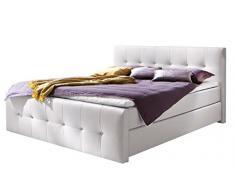 sette notti Boxspringbett 180x200 Weiß, Boxspringbett mit Strasssteinen, Kunstlederbett mit Liegefläche 180x200 cm, Art Nr. 5186-99-3BH2