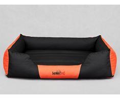 HobbyDog Hundesofa Verschiedene und Farben Cordura Comfort, XXL - 110 x 90 x 25 cm, Schwarz mit Orange