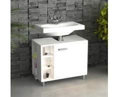 VCM Bad Unterschrank Waschtisch Waschbeckenunterschrank Schrank Möbel Clevaso 50 x 60 x 29 cm Badezimmer Regal Weiß