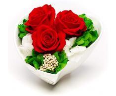 Rosen-Te-Amo Langlebiger Blumenstrauß der Liebe aus 3 haltbaren Rosen im Porzellan; Infinity Blumen in der Keramik: pfleglich handgefertigt - haltbar ohne Wasser