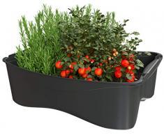 U-greeny Multibox Untersetzer für Pflanzbox Hochbeet Gemüsebeet Anzuchttopf Pflanzregal für Balkon, Garten und Terrasse, integriertes Wasserablaufsystem, wetterfest, Anthrazit