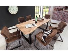 SAM® Stilvoller Esszimmertisch Quarto 180 x 90 cm aus Akazie-Holz, Tisch mit schwarz lackierten Beinen, Baum-Tisch mit naturbelassener Optik