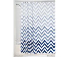 InterDesign Ombre Chevron Textil Duschvorhang   183 cm x 183 cm Vorhang aus Stoff mit Zickzackmuster   pflegeleichte Duschabtrennung für Badewanne und Duschwanne   Polyester blau