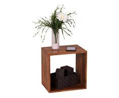 WOHNLING Standregal Massivholz Sheesham 43,5 cm Cube Regal Design Holzregal Naturprodukt Beistelltisch Landhaus-Stil dunkel-braun Wohnzimmer-Möbel Unikat Echtholz Couchtisch viereckig Anstelltisch