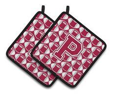 Caroline s Treasures Buchstabe P Fußball Crimson, grau & weiß Paar Topflappen cj1065-ppthd, 7.5hx7.5 W, multicolor