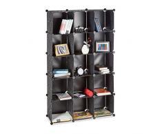 Relaxdays Steckregal aus Kunststoff, erweiterbares Regalsystem, 15 belastbare Fächer, individuelles Standregal, schwarz