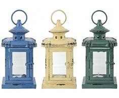 Esschert Design Laterne in 3 Farben Sortiert S aus Eisen und Glas, 11,5 x 11,5 x 21,5 cm (1 Stück)
