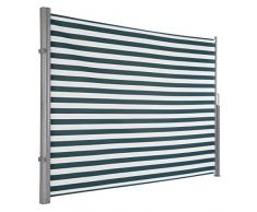 Ultranatura Maui Seitenmarkise, Seitenwandmarkise ausziehbar, Seitenrollo Balkon, Terrasse und Garten, Windschutz und Sichtschutz robust, 300 x 180 cm, grün/weiß