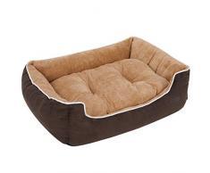 FEANDREA Hundebett, weiches Hundekorb, L, mit abnehmbarem Kissen, 90 x 25 x 75 cm, braun und beige PGW06YC