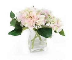 Closer 2 Nature Artificial Flower, Künstliche Hortensie Anordnung in Deko Vase, 18 cm, grün/rosa