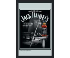 Empireposter - Jack Daniels - Billiard - Größe (cm), ca. 30x40 - Maxi-Spiegel Bedruckter Wandspiegel mit schwarzem Kunststoffrahmen in Holzoptik