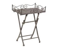 greemotion Beistelltisch Toulouse in Eisengrau, leichter Terrassentisch in edlem Design, Gartentisch mit praktischen Stellfüßen, Bistrotisch mit abnehmbarem Tablett