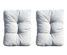 Ambientehome 2er Set Loungekissen, grau, ca 50 x 35 x 10 cm, Polsterkissen Polyrattan Lounge Ersatzkissen