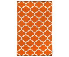 Fab Hab - Tangier - Karotte & Weiß - Teppich/ Matte für den Innen- und Außenbereich (120 cm x 180 cm)