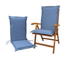 Indoba 2 x Sitzauflage Hochlehner Premium Polsterauflage, Blau