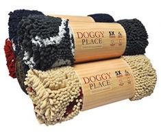 My Doggy Place Fußmatte, sehr saugfähig, Mikrofaser, strapazierfähig, schnell trocknend, waschbar, verhindert Schmutz, hält Ihr Haus sauber, Large (36 x 26), Brown w/Paw Print