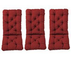 Ambientehome 3er Set Hochlehner Auflage Kissen Hanko Maxi, rot, ca 120 x 50 x 8 cm, Rückenteil ca 70 cm, Polsterauflage