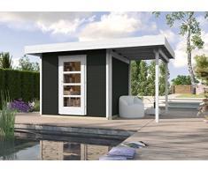 Weka Gartenhaus, Designhaus Line 172 A Größe 3, 28 mm, ET, Anbau 150 cm, anthrazit, 489x377x226 cm, 172.3030.76101