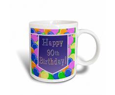 3dRose 173072_3 Tasse Luftballons mit violettem Banner Happy 90th Birthday, 312 ml, Schwarz/Weiß