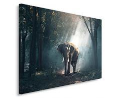 Feeby, Wandbild - 1 Teilig - 40x50 cm, Leinwand Bild Leinwandbilder Bilder Wandbilder Kunstdruck, TIER, ELEFANT, WALD, BÄUME, GRAU