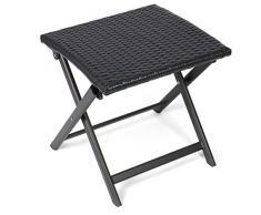 Vanage Alu Hocker mit Rattanoptik in schwarz - klappbarer Fußhocker - Klapphocker - Sitzhocker - Klappstuhl für Camping, Garten, Terrasse und Balkon geeignet