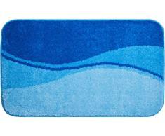 Linea Due Badteppich 100% Polyacryl, ultra soft, rutschfest, ÖKO-TEX-zertifiziert, 5 Jahre Garantie, FLASH, Badematte 80x140 cm, blau