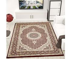 VIMODA Teppich Klassisch Gemustert Kreis, sehr dicht gewebt, Orient Muster in Rot - Top Qualität; Maße: 80x150 cm