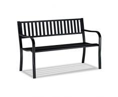 Relaxdays, schwarz Gartenbank, bequemer 2-Sitzer, wetterfeste Metallbank, für Terrasse, Balkon, HBT 82 x 127,5 x 59,5 cm