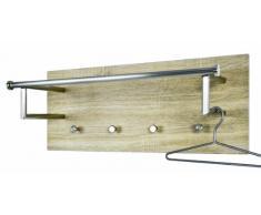 Haku-Möbel 42001 Wandgarderobe 75 x 28 x 30 cm, edelstahloptik/eiche hell