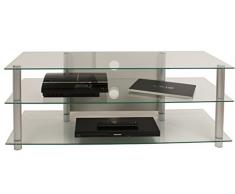 VCM TV Rack Lowboard Konsole Fernsehtisch Fernseh Möbel Bank Glastisch Tisch Schrank Aluminium Klarglas Lotasa Big